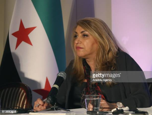 HNC coordinator Maraha Bekai speaks during a press conference on Syrian refugees organised by women's commission of High Negotiations Committee...