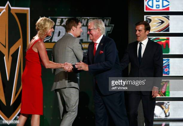 Coowner Bill Foley and general manager George McPhee of the Vegas Golden Knights speaks are greeted onstage by hosts Kathryn Tappen and Daren Millard...