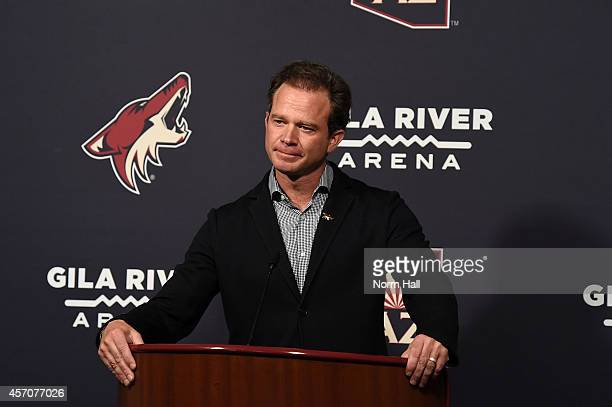CoOwner Chairman and Governor of the Arizona Coyotes George Gosbee talks with the media prior to a game against the Los Angeles Kings at Gila River...