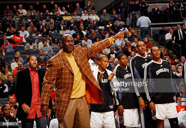 CoOwner Michael Jordan of the Charlotte Bobcats reacts to a call against the Orlando Magic on February 20 2009 at the Time Warner Cable Arena in...