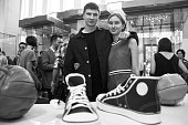 Coowner of 'DVA MYACHA' Brand Evgeny Raykov and designer Luda Nikishina attend at presentation of gym shoes 'DVA MYACHA' Brand at Tsvetnoy Central...