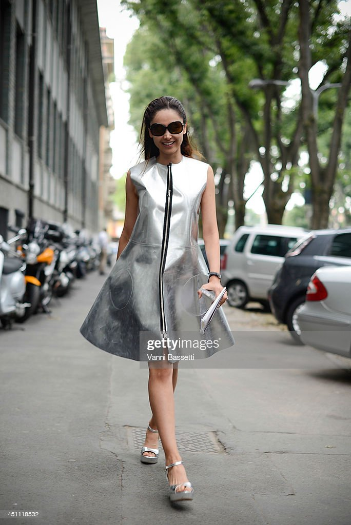 Co-owner of Joshua Fenu Patricia Contreras poses in a Domenico Cioffi dress and Fabio Rusconi shoes before Emporio Armani show on June 23, 2014 in Milan, Italy.