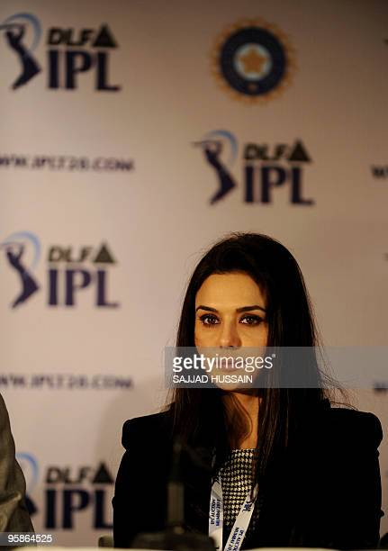 Coowner of 'Kings XI Punjab' Priety Zinta addresses a press conference after the Indian Premier League auction in Mumbai on January 19 2010 Of the 66...