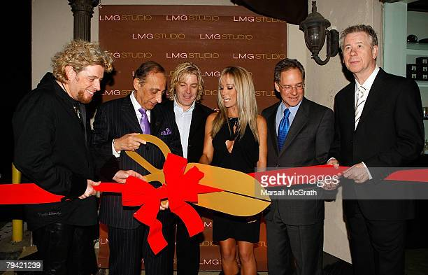 Coowner of LMG Studio Laurent Saint Criq Beverly Hills Mayor Jimmy Delshad coowner of LMG Studio Maurice Benchimol Kendra Wilkinson from 'The Girls...
