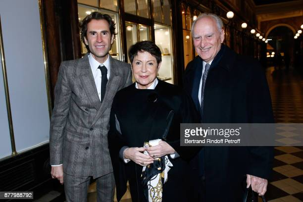 Coowner of the Boutique Pierre Pelegry with his parents Nicole and Robert Pelegry attend the Ligne Blanche Boutique Opening at Galerie VeroDodat on...