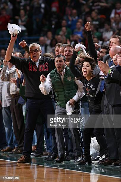 Coowner of the Milwaukee Bucks Marc Lasry cheers in Game Three of the Eastern Conference Quarterfinals between the Milwaukee Bucks and the Chicago...