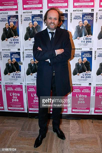 Coowner of the Theater JeanMarc Dumontet attends the 'L'Etre ou pas' Theater play at Theatre Antoine on March 21 2016 in Paris France