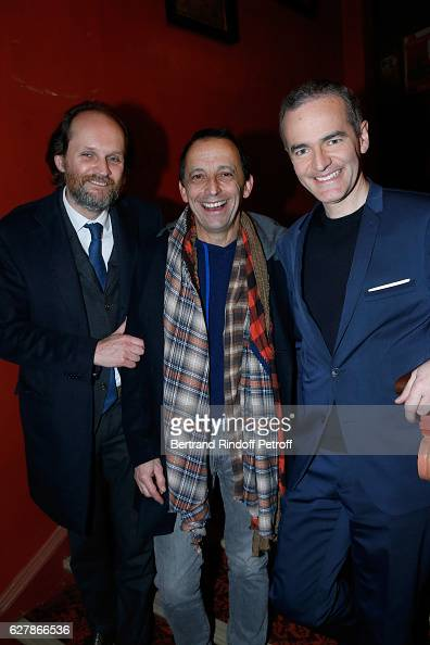 Coowner of the Theater JeanMarc Dumontet Stage Director of the show Eric Mettayer and Franck Ferrand pose after Franck Ferrand performed in his Show...