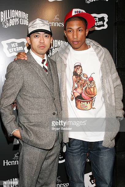 Coowners Nigo and Pharrell Williams attend the Billionaire Boys Club / Ice Cream flagship store opening on November 28 2007 in New York City
