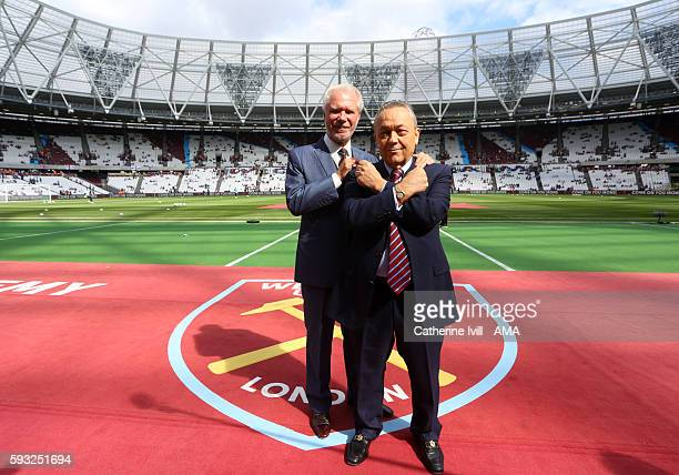 Coowners of West Ham United David Gold and David Sullivan pose for a picture before the Premier League match between West Ham United and AFC...