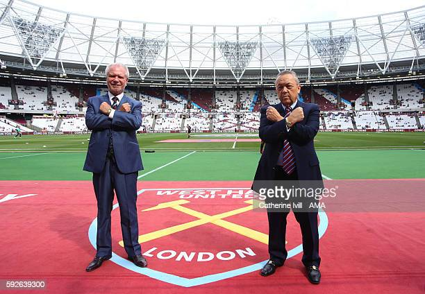 Coowners of West Ham United David Gold and David Sullivan post for a picture at the stadium before the Premier League match between West Ham United...