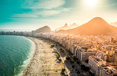 Aerial view of famous Copacabana Beach in Rio de Janeiro, Brazil.