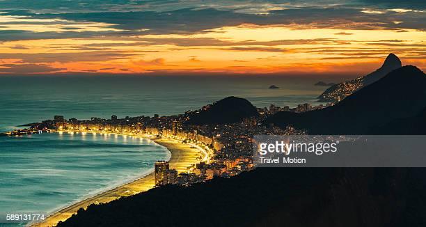 Copacabana beach at night, Rio De Janeiro, Brazil