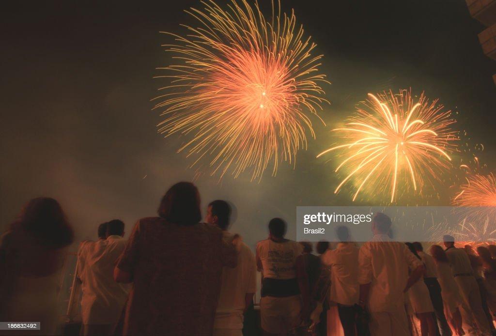 Copacabana-Feuerwerk : Stock-Foto