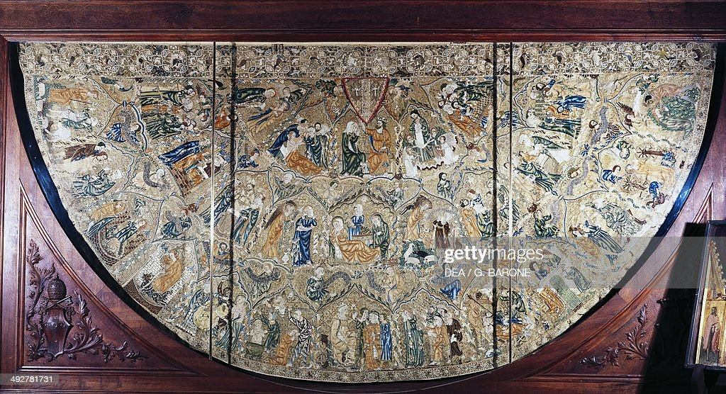 Cope of Pope Pius II depicting the Stories of Our Lady of Saint Margaret of Antioch and Saint Catherine of Alexandria embroidered in polychrome silk...