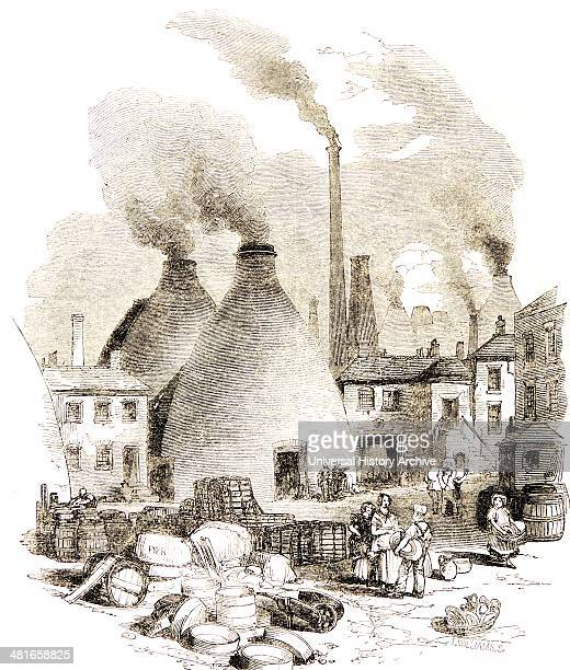 Copeland's factory at StokeonTrent Staffordshire England 'The Bank' showing the bottle kilns and the pollution from smoking chimneys Engraving London...