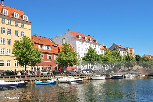 Copenhague. Hermoso quay en Christianshavn : Foto de stock
