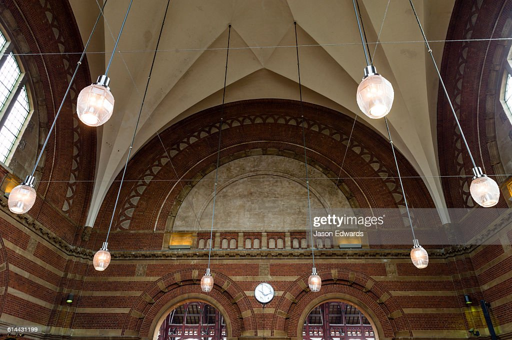 The domed ceiling and suspended lights of a train station.  Stock Photo & The Domed Ceiling And Suspended Lights Of A Train Station Stock ... azcodes.com