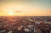 Center of Copenhagen at sunset light (Copenhagen, Denmark).