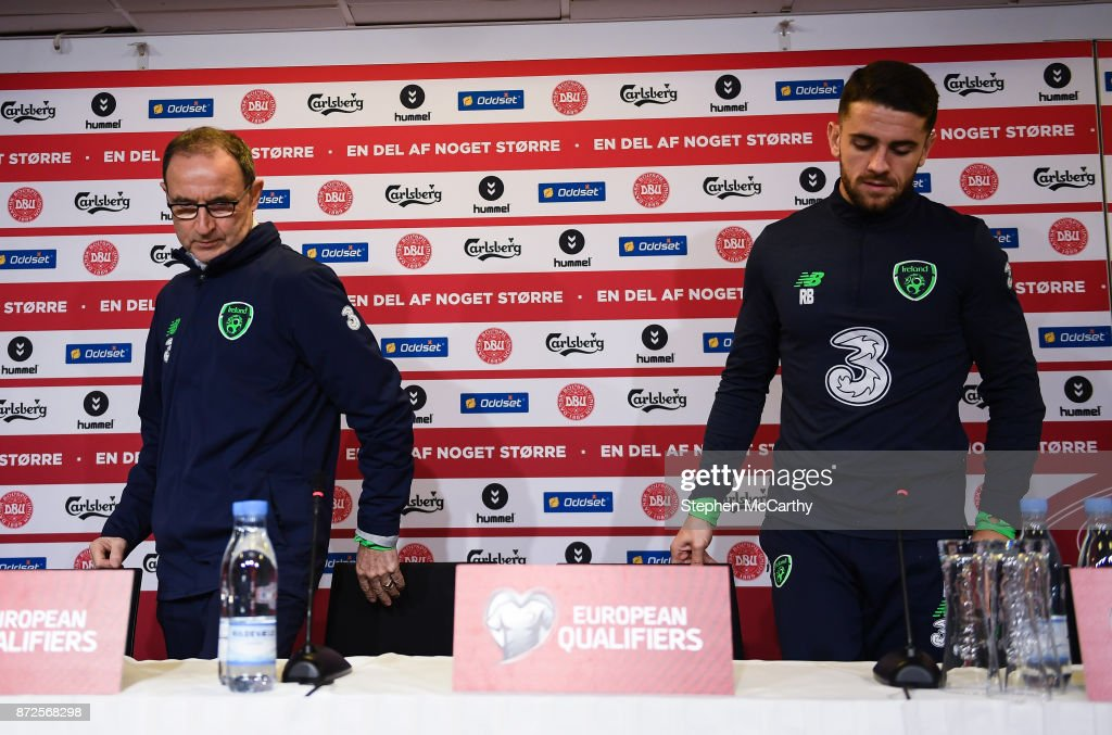 Copenhagen , Denmark - 10 November 2017; Manager Martin O'Neill and Robbie Brady during a Republic of Ireland press conference at Parken Stadium in Copenhagen, Denmark.