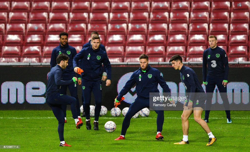 Copenhagen , Denmark - 10 November 2017; Matt Doherty, centre, Harry Arter, left, and Callum O'Dowda during Republic of Ireland squad training at Parken Stadium in Copenhagen, Denmark.