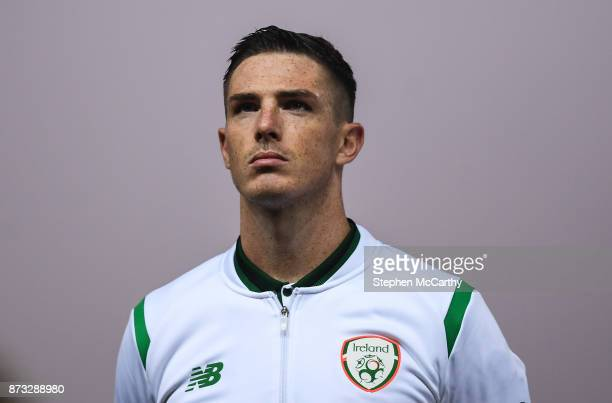 Copenhagen Denmark 11 November 2017 Ciaran Clark of Republic of Ireland during the FIFA 2018 World Cup Qualifier Playoff 1st Leg match between...