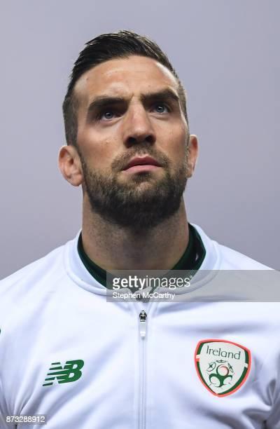 Copenhagen Denmark 11 November 2017 Shane Duffy of Republic of Ireland during the FIFA 2018 World Cup Qualifier Playoff 1st Leg match between Denmark...