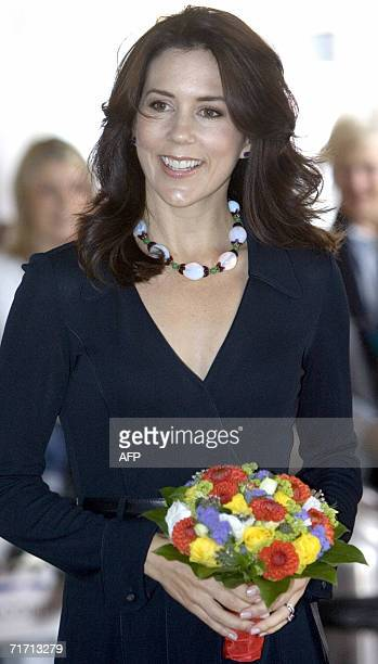 Danish Crown Princess Mary smiles as she arrives at the Nordic Childrens Care Conference 24 August 2006 in Copenhagen AFP PHOTO / Keld...