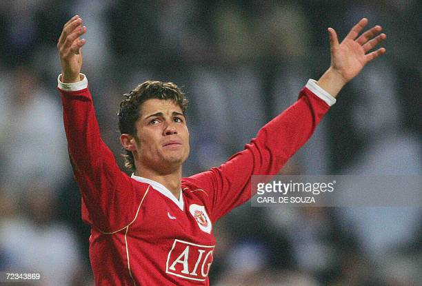 Manchester United's Portuguese Cristiano Ronaldo gestures after his goal was disallowed during their Champions League Group F soccer match against FC...