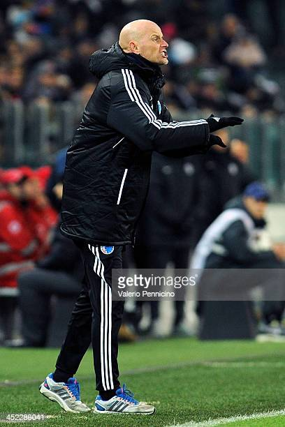 Copenhagen head coach Stale Solbakken issues instructions during the UEFA Champions League Group B match between Juventus and FC Copenhagen at...