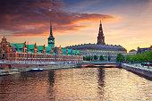 Image of Copenhagen, Denmark during beautiful sunset.