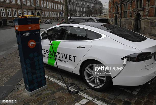 CopenhagenDenamrk 06 March 2015 _Electric car been charge at Clever charde station