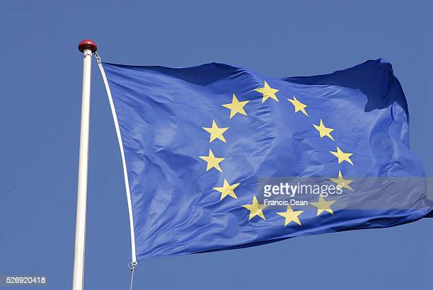 Copenhagen/Denmark/ 02 September 2015_ European union flag with 12 stars though there 28 meber countries now