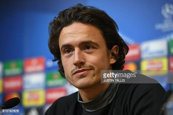 FC Copenhagen's Danish midfielder Thomas Delaney attends a press conference at the King Power stadium in Leicester central England on October 17...