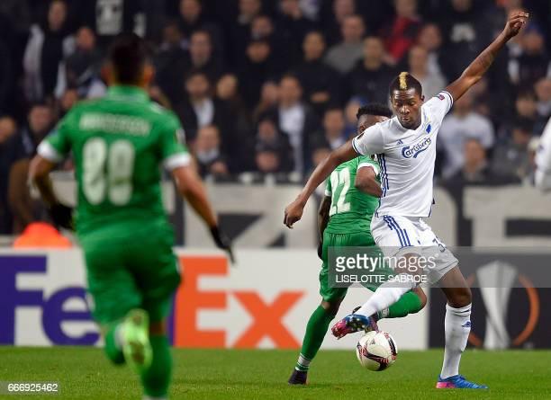 FC Copenhagen's Ivory Coast midfielder Aboubakar Keita and Ludogorets' Brazilian forward Jonathan Cafu vie for the ball during the UEFA Europa League...