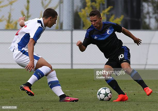 Copenhagen's midfielder Nicklas Rojkjaer with FC Porto's defender Diogo Dalot in action during the UEFA Youth Champions League match between FC Porto...