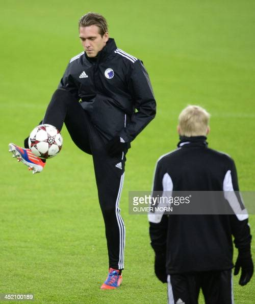FC Copenhagen's midfielder Thomas Delaney plays with a ball during a training session on the eve of the UEFA Champions League Group B football match...