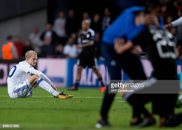 Copenhagen's Nicolai Boilesen reacts after the UEFA Champions League second leg playoff football match between FC Copenhagen and Qarabag FK on August...