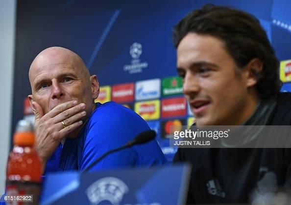 FC Copenhagen's Norweigan manager Stale Solbakken and FC Copenhagen's Danish midfielder Thomas Delaney attend a press conference at the King Power...