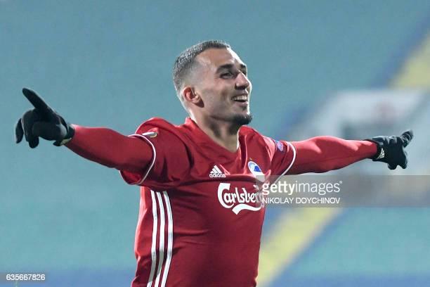 Copenhagen's Youssef Toutouh celebrates after scoring during the UEFA Europa League football match between PFC Ludogorets Razgrad and FC Copenhagen...