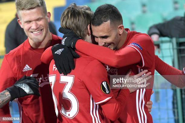 Copenhagen's Youssef Toutouh celebrates with his teammates after scoring during the UEFA Europa League football match between PFC Ludogorets Razgrad...