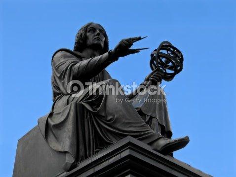 Copernicus statue in Warsaw : Stock Photo