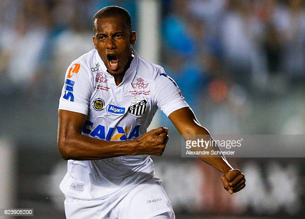 Copete of Santos celebrates their first goal during the match between Santos and Vitoria for the Brazilian Series A 2016 at Vila Belmiro stadium on...