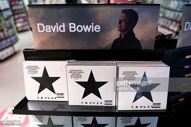 Copies of 'Blackstar' the latest album by British musician David Bowie are on sale in a branch of HMV in central London on January 11 2016 British...