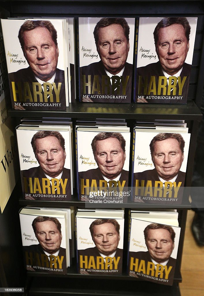 Copies of <a gi-track='captionPersonalityLinkClicked' href=/galleries/search?phrase=Harry+Redknapp&family=editorial&specificpeople=204768 ng-click='$event.stopPropagation()'>Harry Redknapp</a> autobiography 'Always Managing' sit on shelves during a book signing session at Waterstone's on October 10, 2013 in London, England.