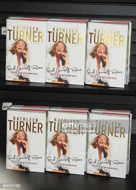 Copies of Hollywood actress Kathleen Turner's latest book 'Send Yourself Roses My Life' at Waterstone's Piccadilly in central London