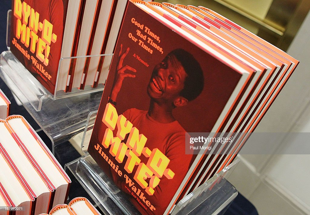copies of Jimmie Walker's book 'Dynomite! Good Times, Bad Times, Our Times - A Memoir' at McGowan Theater on May 3, 2013 in Washington, DC.