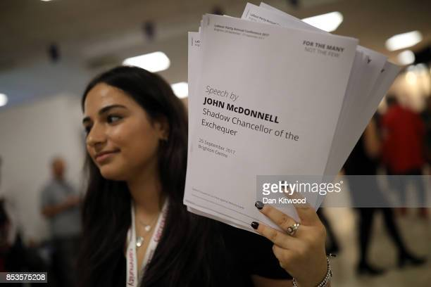 Copies of John McDonnell's speech is sold on day two of the Labour Party Conference on September 25 2017 in Brighton England