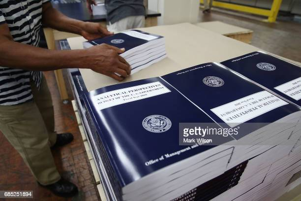 Copies of President Trump's FY'18 budget books are stacked at the Government Publishing Office on May 19 2017 in Washington DC