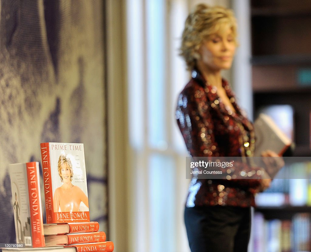 Making The Most Of All Of Your Life' sit on display in the foreground as actress/author Jane Fonda waits to speak as she promotes 'Prime Time: Making The Most Of All Of Your Life' at Barnes & Noble Union Square on August 10, 2011 in New York City.